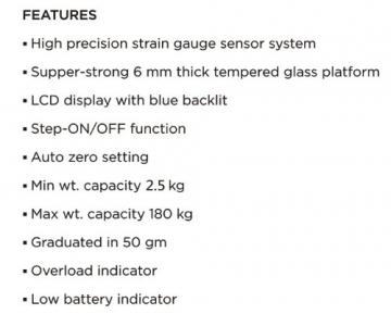 G&G A6 180kg DESIGN Digitalwaage Personenwaage AAA Batteriebetrieb GLAS Scale (Schwarz-Kreuz) - 3