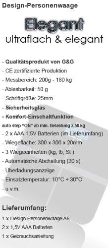 G&G A6 180kg DESIGN Digitalwaage Personenwaage AAA Batteriebetrieb GLAS Scale (Schwarz-Kreuz) - 4