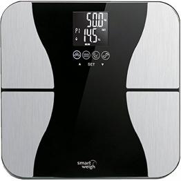 Smart Weigh SBS500 Körperfett-digital-Präzisionswaage mit Hartglas-Wiegefläche, Erkennung von acht Benutzern und 200 kg Gewicht Kapazität, misst Gewicht, Körperfett, Wasser, Muskel-und Knochenmasse - 1