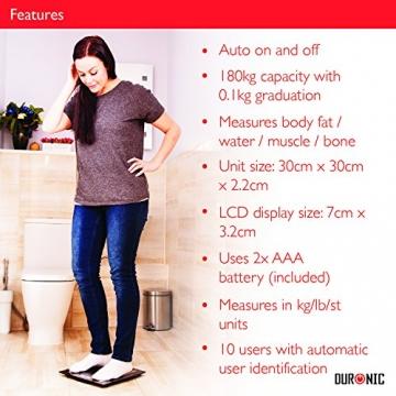 Duronic BS501 Digitalwaage mit Körperfettanalyse bis zu 180kg- dünner Glasboden,Badezimmer Maßstab, Touchbildschirm - Testsieger! - 4