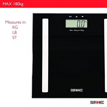 Duronic BS501 Digitalwaage mit Körperfettanalyse bis zu 180kg- dünner Glasboden,Badezimmer Maßstab, Touchbildschirm - Testsieger! - 5