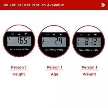 Duronic BS501 Digitalwaage mit Körperfettanalyse bis zu 180kg- dünner Glasboden,Badezimmer Maßstab, Touchbildschirm - Testsieger! - 7