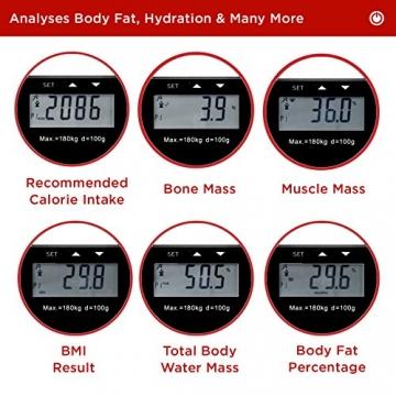 Duronic BS501 Digitalwaage mit Körperfettanalyse bis zu 180kg- dünner Glasboden,Badezimmer Maßstab, Touchbildschirm - Testsieger! - 8