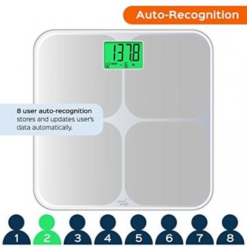 Smart Weigh SMS500 Digitale Badezimmer-Waage, hohe Genauigkeit, zweifarbige Gewichtsänderungsanzeige und automatische Erkennung von acht Benutzern, Silber - 2