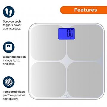 Smart Weigh SMS500 Digitale Badezimmer-Waage, hohe Genauigkeit, zweifarbige Gewichtsänderungsanzeige und automatische Erkennung von acht Benutzern, Silber - 4