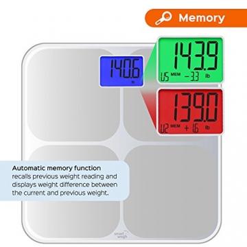Smart Weigh SMS500 Digitale Badezimmer-Waage, hohe Genauigkeit, zweifarbige Gewichtsänderungsanzeige und automatische Erkennung von acht Benutzern, Silber - 5