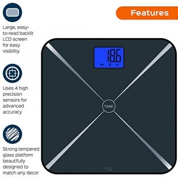 Smart Weigh Smart Tara digitale Personenwage mit großem LCD-Display und Hartglasplattform, 200kg/440lbs Kapazität (Schwarz) - 3