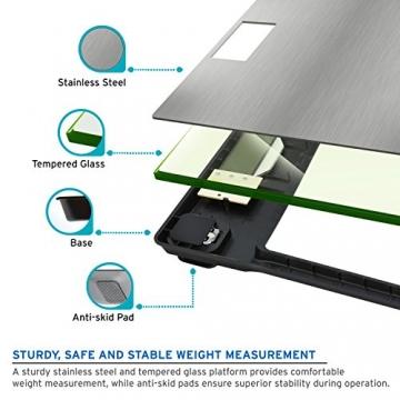 Etekcity Digitale Personenwaage aus Sicherheitsglas mit Edelstahloberfläche, 5kg-180kg, Slim Design, Silber - 4