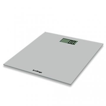 Accuweight AW-BS001 digitale Personenwaage aus gehärtetem Sicherheitsglas bis zu 180 kg /400 lb (Silber) - 1