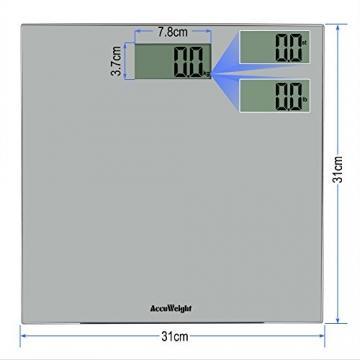 Accuweight AW-BS001 digitale Personenwaage aus gehärtetem Sicherheitsglas bis zu 180 kg /400 lb (Silber) - 3