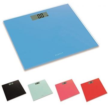 EXZACT ColorSlim - Personenwaage/ Elektronische Körperwaage / digitale Badezimmerwaage - Ultra schmal 1.7 CM Dicke -150 kg / 330 lb - farbige Glasplattform (Blau) - 2