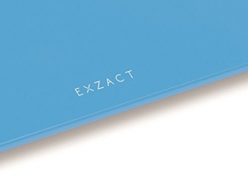 EXZACT ColorSlim - Personenwaage/ Elektronische Körperwaage / digitale Badezimmerwaage - Ultra schmal 1.7 CM Dicke -150 kg / 330 lb - farbige Glasplattform (Blau) - 5