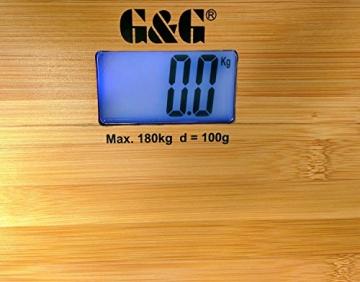 G&G A8/180KG AAA Batteriebetrieb Bambusholz Personenwaage Digitalwaage - 3