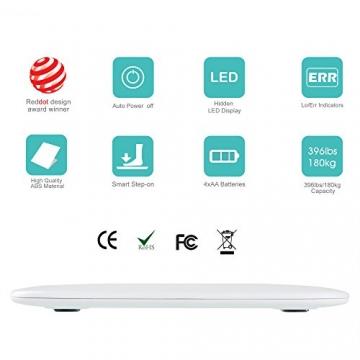 Renpho Badezimmerwaage mit breitem und hellem LED Display 4001b/180kg - Weiß -