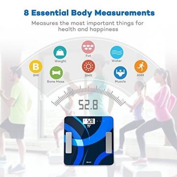 Körperfettwaage TaoTronics Personenwaage Gewichtswaage Digitale Körperwaage mit App-Anbindung zum Messen von Gewicht, BMI, Fett, Wasser, Muskeln, Knochenmasse, BMR & AMR -