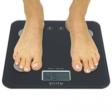 Aicok Personenwaage, Digital Körperfettwaage, Körperwaage mit Step-on-Technologie, gehärtete Glasplattform, misst bis 150kg Gewicht, Körperfett, Wasser, Muskel- und Knochenmasse -