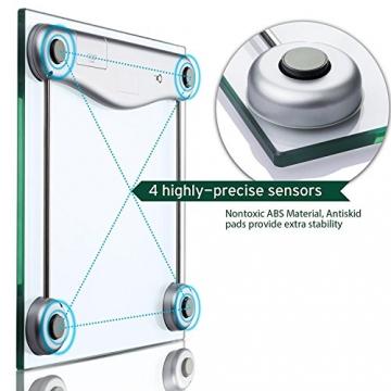 Etekcity Digitale Personenwaage aus Sicherheitsglas, 5kg-180kg, Slim Design, mit Großem LCD-Display, Inkl. Maßband -